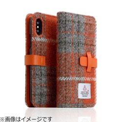 iPhone X用 Harris Tweed Diary オレンジ×グレー SD10555I8
