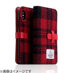 iPhone X用 Harris Tweed Diary レッド×ブラック SD10557I8