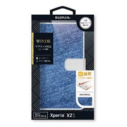 Xperia XZ1用 手帳型ケース デニムフラップケース WINDE ライトブルー/ホワイト LEPLUS LP-XPXZ1FDMA