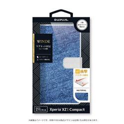 Xperia XZ1 Compact用 手帳型ケース デニムフラップケース WINDE ライトブルー LEPLUS LP-XPXC1FDMA