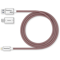 USB-C+Lightning − USB-A 3.1メモリ[Mac/Win] (レッド) GEN3LC200G-RED