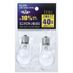 10%節電ミニクリプトン球(40W形・口金E17・110Vタイプ) GKP-H36H-2P(W)