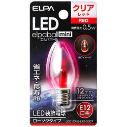 LED装飾電球 「LEDエルパボールmini」(ローソク球形・0.5W/赤色・口金E12) LDC1CR-G-E12-G307