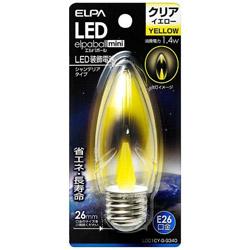 LED装飾電球 「LEDエルパボールmini」(シャンデリア球形・1.4W/黄色・口金E26) LDC1CY-G-G340