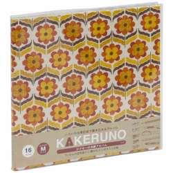 ファブリックスタイル ブック式 かける〜の台紙 スクエアM レトロフラワー(オレンジ) アKMFB165OR