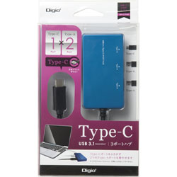 USB-C 3.1ハブ[3ポート:Type-Cx1/Type-Ax2・Mac/Win] ブルー UHC3103BL