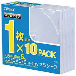 [10枚収納] Blu−ray CD DVDプラケース スリムタイプ (1枚×10・クリア) CD-084-10