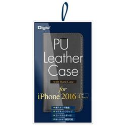 iPhone 7用 ケース PUレザー ハードケース付 ブラック SMC-IP1602BK