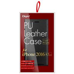 iPhone 7用 ケース PUレザー軽量 ブラック SMC-IP1605BK
