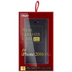 iPhone 7用 ケース 本革 軽量 ブラック×レッド SMC-IP1606BKR