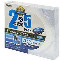 [10枚収納] Blu−ray DVD CD ケース スリムタイプ (2枚×5・クリア) CD-087-05