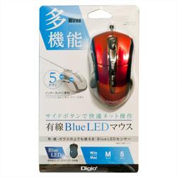 ナカバヤシ 有線5ボタンBlueLEDマウス レッド MU-UKF116R 1個