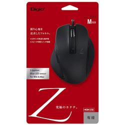 有線BlueLEDマウス [USB 1.5m・Win/Mac] Zシリーズ (Mサイズ・5ボタン) ブラック MUS-UKF130BK