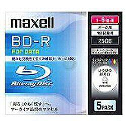 1〜6倍速対応 データ用Blu-ray BD-Rメディア (25GB・5枚) BR25PWPC.5S