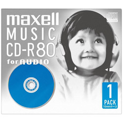 音楽用CD-R 80分 ブルー(1枚パック) CDRA80D. BL.1J