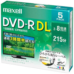 DRD215WPE5S 録画用DVD-R DL 片面2層式ホワイトディスク(CPRM対応) 2〜8倍速 5枚パック