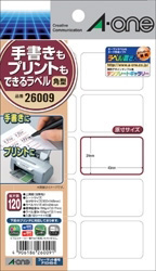 26009 (手書きもプリントもできるラベル 角型10面 40×24mm 12シート(120片)入り)