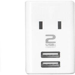 USBスマートタップ ホワイト M4024 [直挿し /2個口 /3ポート /スイッチ無]