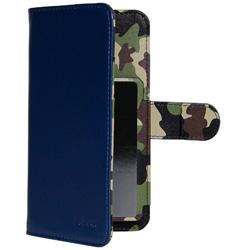 スマートフォン用[幅 74mm/5.2インチ] マルチサイズ対応 裏地迷彩柄 手帳型ケース ネイビー OWL-CVMU05CA-NV