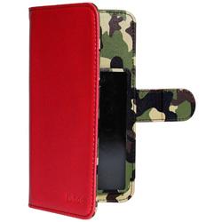 スマートフォン用[幅 74mm/5.2インチ] マルチサイズ対応 裏地迷彩柄 手帳型ケース レッド OWL-CVMU05CA-RD
