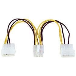 EPS12V用電源変換ケーブル 15cm 4ピン電源コネクタ(大/オス)x2 ⇔ EPS12V8ピン(オス) OWL-CBPU060