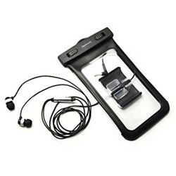 スマートフォン用[幅 81mm] Waterproof ステレオミニジャック一体型 防水ソフトケース アームバンド&防水仕様イヤホン付属 (ブラック) OWL-MAWP04(BK)