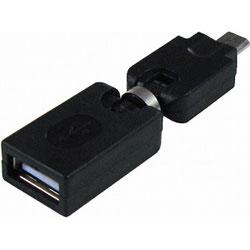 変換アダプター [USB A(メス)− micro B(オス)] 関節回転タイプ GM-UH012