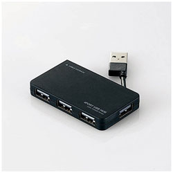 USB2.0ハブ〔4ポート・バスパワー・Mac/Win〕ブラック U2H-YKN4BBK