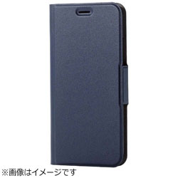 iPhone X用 手帳型 ソフトレザーカバー 薄型 磁石付 ネイビー PM-A17XPLFUNV PM-A17XPLFUNV