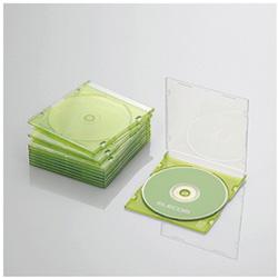 CD/DVD/Blu-ray対応収納スリムケース (1枚収納×10セット・クリアグリーン) CCD-JSCS10CGN