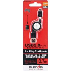 USB2.0ケーブル 巻き取りmicro-Bタイプ for PlayStation4 【PS4】 [GM-U2CAMBIRL7BK]
