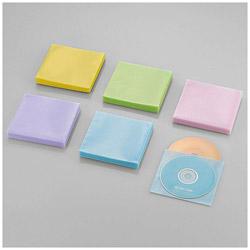 120枚収納 Blu-ray・CD・DVD対応 不織布ケース スタンダード (アソートカラー:ブルー・グリーン・イエロー・パープル・ピンク) CCD-NWB120ASO