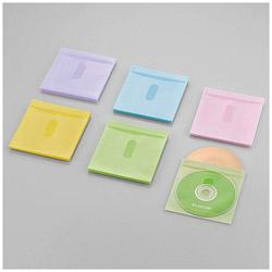 60枚収納 Blu-ray・CD・DVD対応 不織布ケース タイトルカード (アソートカラー:ブルー・グリーン・イエロー・パープル・ピンク) CCD-NIWB60ASO