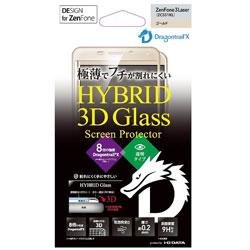 ZenFone 3 Laser(ZC551KL)用 HYBRID Glass Screen Protector 3D ドラゴントレイルX ゴールド 【ビックカメラグループオリジナル】