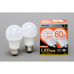 LED電球(一般電球形[広配光タイプ]・全光束810lm/電球色相当・口金E26/2個入) LDA7LG6T6E2P [E26 /電球色 /60W相当 /一般電球形]