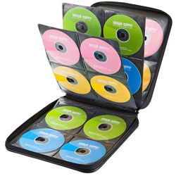 DVD・CDセミハードケース(160枚収納・ブラック) FCD-WL160BK