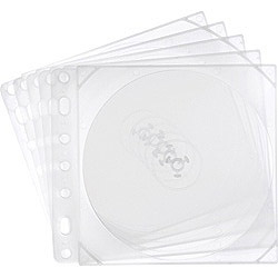 Blu-ray/DVD/CD対応収納ケース リング穴付 両面2枚収納×5