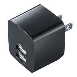 タブレット/スマートフォン対応[USB給電] AC - USB充電器 2.4A (2ポート・ブラック) ACA-IP44BK