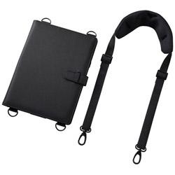 10.1インチタブレット対応[横幅 245〜285mm] ショルダーベルト付きケース スタンド機能付き ブラック PDA-TAB4ST