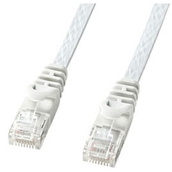 カテゴリー6対応 LANケーブル (ホワイト・0.5m) LA-FL6-005W