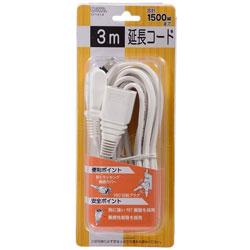 HS-T13F1-W テーブルタップ 延長コード ムービープラグ(2ピン式/1個口/3m/ホワイト)