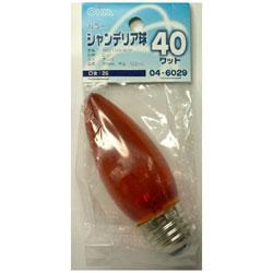 シャンデリア球C37 E26 40W アンバー LBC7640AN