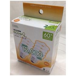 エコ電球 スパイラル60Wタイプ E26 2個入 EFD15EL12SPN2P 電球色