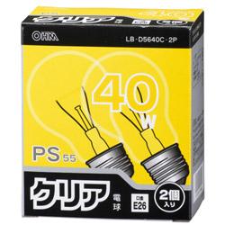 白熱電球 E26 40W クリア 2個入 LB-D5640C-2P