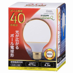 LED電球 (ボール電球形・全光束477lm/電球色相当・口金E26) LDG4LG AH92