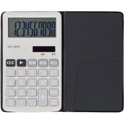 電卓 ソーラー 10桁 手帳サイズ (ホワイト) KCL-120-W