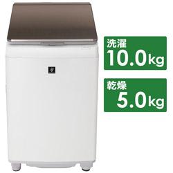 SHARP(シャープ) 縦型洗濯乾燥機  ブラウン系 ES-PT10F-T [洗濯10.0kg /乾燥5.0kg /ヒーター乾燥(排気タイプ) /上開き]