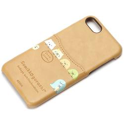 iPhone 7用 すみっコぐらしポケット付きPUケース ブラウン YY01609