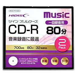 音楽用CD-R HDCR80GMP2TC [2枚 /700MB /インクジェットプリンター対応]