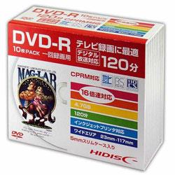 DVD-R録画用 120分 16倍速対応 10枚 5mmSlimケース入りホワイトワイドプリンタブル HDDR12JCP10SC